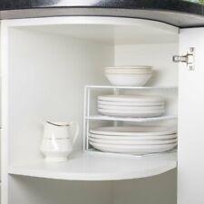 Plate Storage Rack Cupboard White Corner Kitchen Dish Stand Holder Organiser