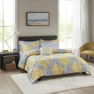 Mainstays Yellow Damask 8-Piece Bed in a Bag Bedding Set, King