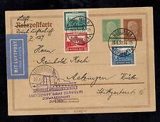 1931 Boblingen Germany Graf Zeppelin Cover Schwaben flight Pnuematic Mail Mi 450