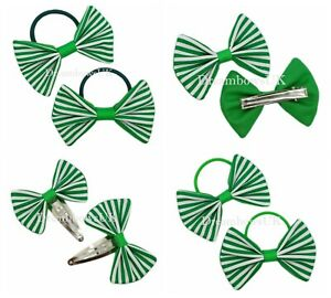 Emerald  green and white striped fabric hair accessories Bobbles or hair clips