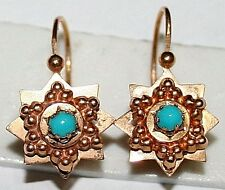 ANTIQUE VICTORIAN FRENCH 18K GOLD BEAUTIFUL STAR TURQUOISE FINE EARRINGS c 1880