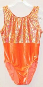 NWT Neon Orange Plush Velvet & Shiny Foil Dreamlight gymnastic leotard AM