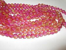 110pcs 8mm CRACKLE Glass Round Beads - CHERRY PINK & GOLD (1 strand )