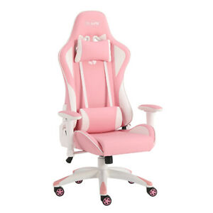 Gaming Computer Pc Chair Home Adjustable Racing Chair Pink White Ergonomic Chair