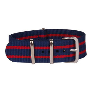18mm 20mm 22mm Navy Belt Red Stripe  Watchband Nylon Watch Strap Wristwatch Band