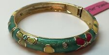 Betsey Johnson Multi Colored Flower Snap Bangle Bracelet