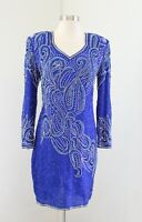 Vtg Stenay Ornate Royal Blue Silk Beaded Sequin Party Evening Dress Size 2P