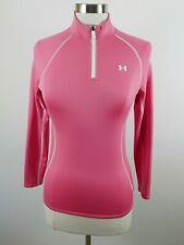 Under Armour Girls Stretch Polyester Loose Cold Gear LS 1/4 Zip Pink Shirt YM