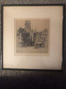 "Original Signed DOROTHY WOOLLARD Drypoint Etching "" Rouen"""