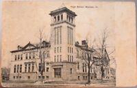 Mattoon, IL 1908 Postcard: High School Building - Illinois Ill