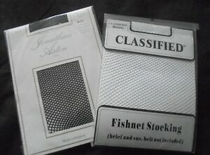 2 pairs of fish net stockings 1pr black jonathan aston 1 pr white classified