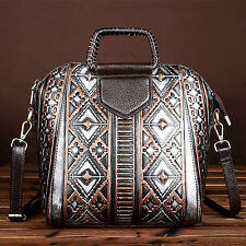 Women's Leather Shoulder Hobo Messenger Bag Clutch Tote Purse Embossed Handbag
