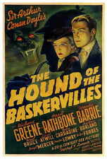 THE HOUND OF THE BASKERVILLES Movie POSTER 27x40 Basil Rathbone Nigel Bruce