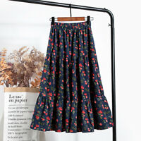 Womens Corduroy Floral Skirts Dress High Waist Pleated Midi Tiered Gypsy Casual