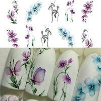 3 Sheets Flower Butterfly Nail Art Water Transfer Decals Stickers Tips DIY Decor