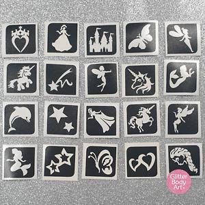 Girls Tattoo Stencils for Glitter Tattoos x 20  - Princess Unicorn Mermaid Stars