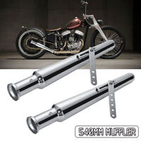 2Pcs Motorcycle Exhaust Muffler Cocktail Pipe Shaker Tulip Bell End +   //