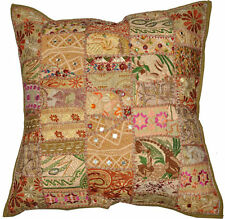 On Sale 24x24 Indian Patchwork Pillow Cover Khaki Bohemian Pillow floor Cushion