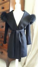APOSTROPHE women black wool coat size FR38 (UK10) with removable belt and fur