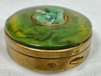 Vintage Brass Metal Faux Jade Green Swirl Stone Pill Trinket Vanity Box Hinged