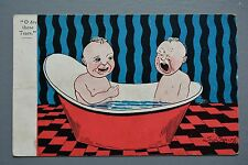 R&L Postcard: Comic, Sid Smith, Baby in Tin Bath Crying, Dry Those Tears