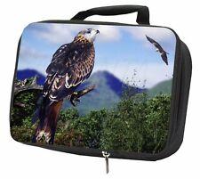 Red Kite Bird of Prey Black Insulated School Lunch Box Bag, AB-105LBB