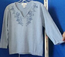 EUC Beautiful  KNIT TOP w. Embroidery & BLING by C. D. Petites Sz S 100% cotton
