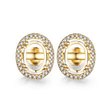 Oval 7x5mm SI Diamonds Semi Mount Earrings Setting Jewelry Solid 18k Yellow Gold