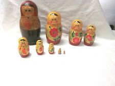 Vintage Hand Painted Russian Nesting Dolls Gold Accents 9 Dolls