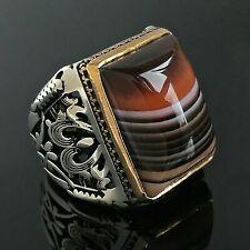 925 Sterling Silver Mens Ring Handmade AQEEQ Stone Size 10 Turkish