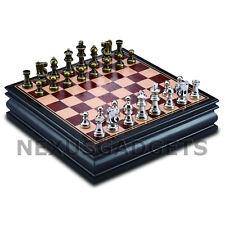 Bala Chess MEDIUM 12 Inch Game Set METAL Pieces Inlaid Wood Storage Board, New
