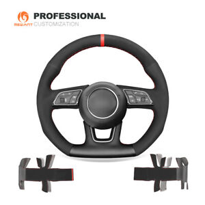 DIY Black Suede Genuine Leather Car Steering Wheel Cover for Audi A3 A4 A5 S5