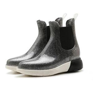Womens Rain Boots Shiny Platform Pull On Waterproof Winter Rainboot Shoes