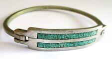 Bijou Vintage unique bracelet rigide argent alpaga poinçonné émail turquoise 778