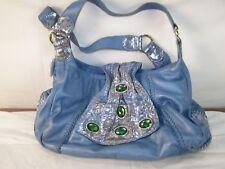 Chi Blue Leather Shoulder Bag Purse Magnetic Closure