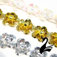 Sequin Trim - Sequin Daisy with Beaded Centre 16mm Style #8427 (Price per 50c...