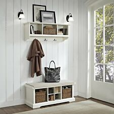 Crosley Furniture Brennan Entryway Storage Bench & Hanging Shelf in White New