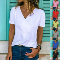 Ladies V Neck Short Sleeve Top Plus Size Women's Stretch Plain T-shirt Solid Tee