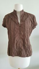 Sunny Leigh Women's Blouse short sleeves Lace Brown Button Down Size Medium