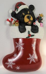 Bear Cub Christmas Stocking Wall Decoration Figure Holiday Xmas Brown Grizzly