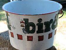 Handpainted Large 11 Inch Enamelware Bucket w/ Handle - Bird Seed - Vintage
