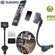EUGIZMO Magnetic Car Phone Holder with 3-ports USB Charger for Universal Phones