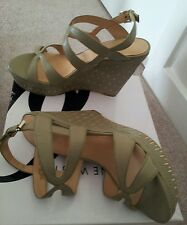 Nine West Leather Green Wedges platform  Heels/Sandals size8M Brand New in Box