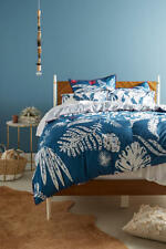 Anthropologie Twin Duvet Cover One Sham Palmera Blue Comforter Bedding Set