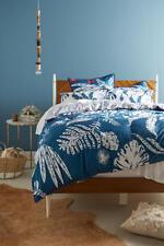 Anthropologie Twin Duvet Cover One Sham Bedding Set Plamera Blue Embroidered