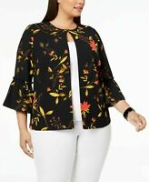 Alfani Black Floral Bell Sleeve Blouse Open Front Plus Sizes NWT MSRP $99 A5405