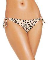 Bar III Dalmation Animal Print Peach Tie Side Bikini Bottom Swimwear M - NWT $44