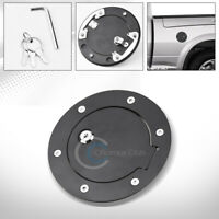 Fit 07-14 Chevy Silverado/GMC Sierra Matte Blk Aluminum Fuel Gas Door Cover Lock