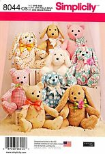 Siimplicity Sewing Pattern 8044 2-pattern-piece Stuffed Animals dog rabbit bear