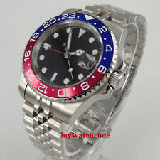 40mm PARNIS black sterile dial Pepsi bezel Sapphire GMT automatic mens watch